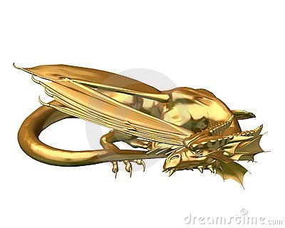 Golden Dragon Statue - sleeping