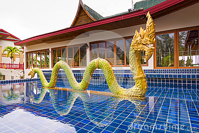 Golden dragon statue in Thailand