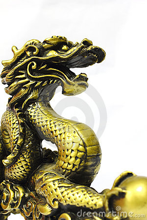 Golden dragon on white