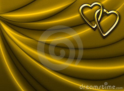 Golden Drapery with Hearts