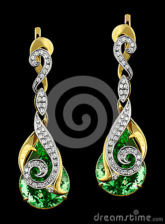 Golden earrings with diamonds and gem