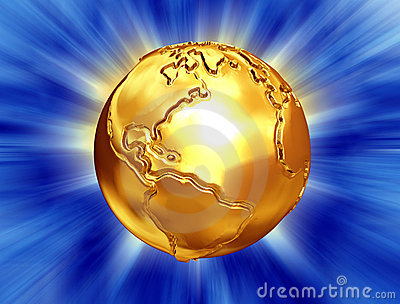 Golden earth with abstract background