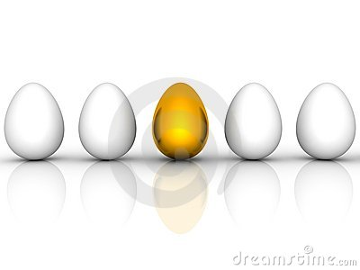 Golden easter egg among similar white eggs