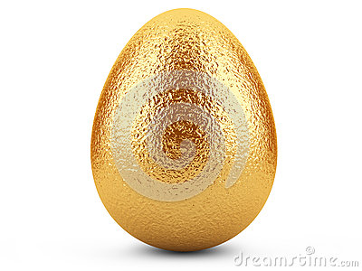 Golden easter egg on white background.