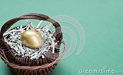 Golden Egg in Basket