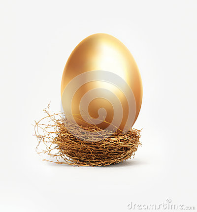 Free Golden Egg In Nest Stock Photography - 26192282