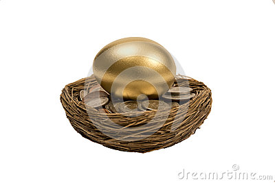 Golden Egg Laying On Coins In Nest