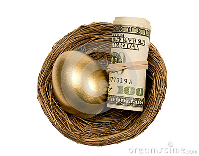Golden Egg With Roll Of Money In Nest