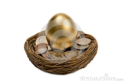 Golden Egg Standing In Nest Of Money