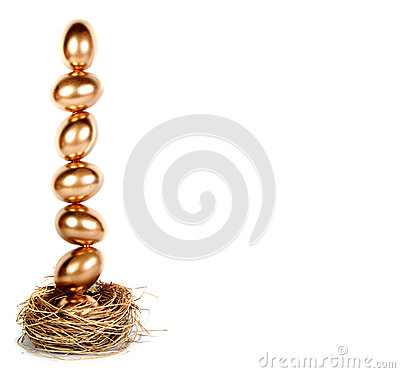 Free Golden Eggs Balanced In A Nest (nest Egg) Royalty Free Stock Images - 24626299