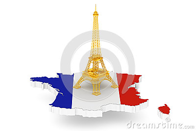 Golden Eiffel Tower over France Map