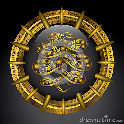 Golden emblem with anaconda