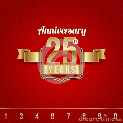 Golden emblem of anniversary
