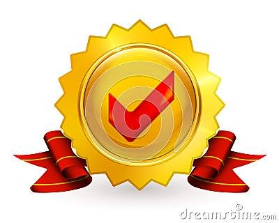 Golden emblem with check mark