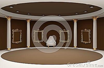 Golden empty frames in museum interior space