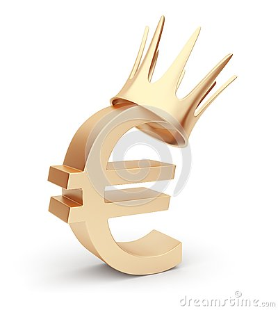 Golden euro currency 3D. symbol. Isolated on white