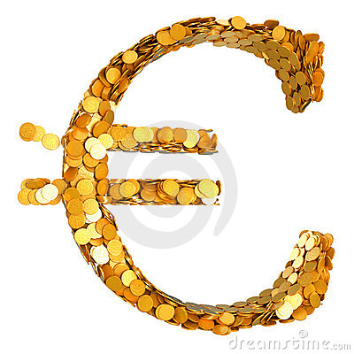 Golden Euro currency and cash
