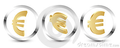 Golden euro sign 3D