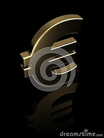 Golden euro symbol