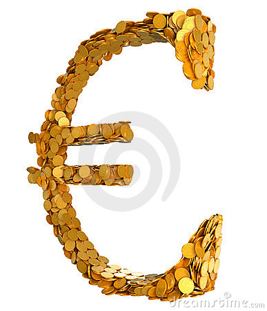 Golden Euro. Symbol assembled with coins