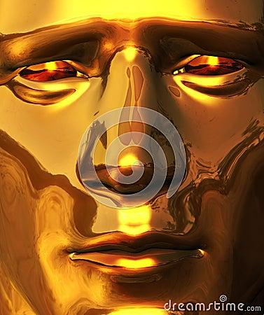 Golden Face with Piercing Gaze