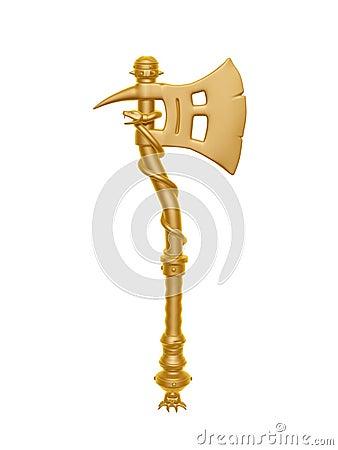 Golden fantasy axe