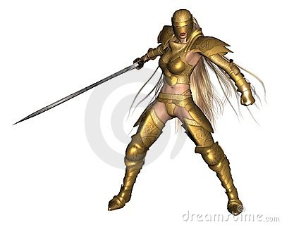 Golden Female Fantasy Warrior - fighting pose
