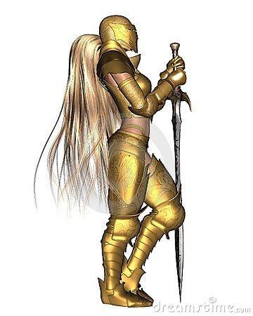Golden Female Fantasy Warrior - relaxed standing p