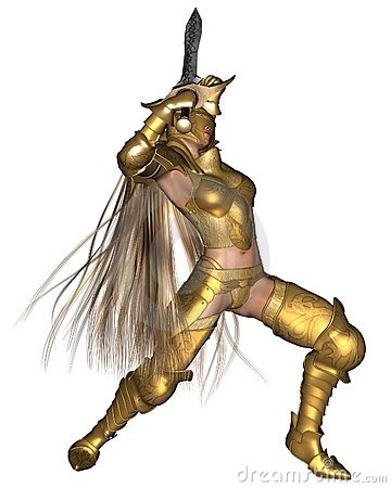 Golden Female Fantasy Warrior - sword raised