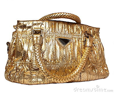 Golden feminine bag