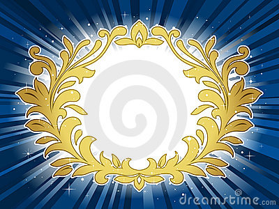 Golden festive wreath on star burst background