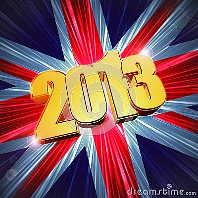 Golden figures year 2013 over shining UK flag