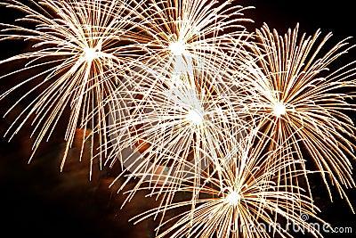 Golden firework bursts