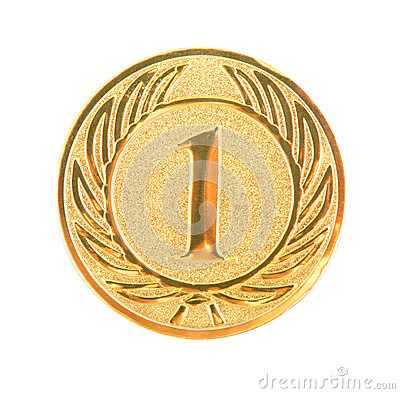 Golden first place medal isolated