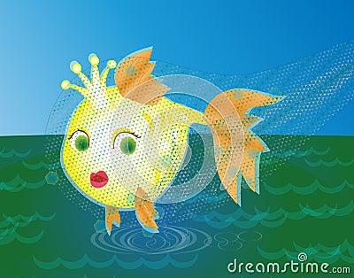 Golden fish caught in a net