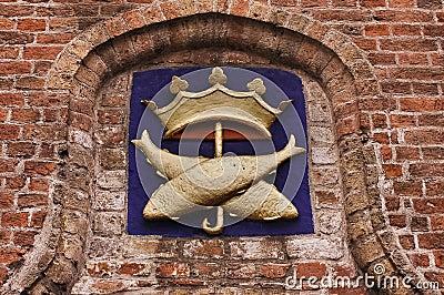 Golden fish under a crown