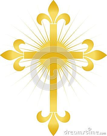 Golden Fleur Cross/eps