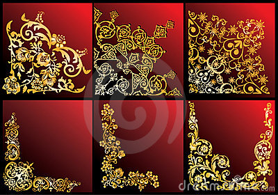 Golden floral corners collection