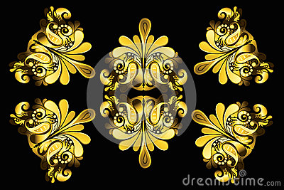 Golden floral elements