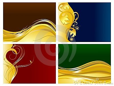 Golden floral ornaments background set