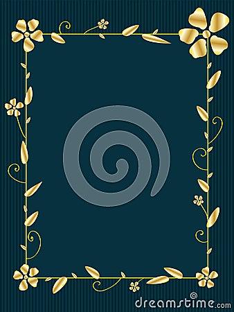 Golden Flower Square Frame_eps