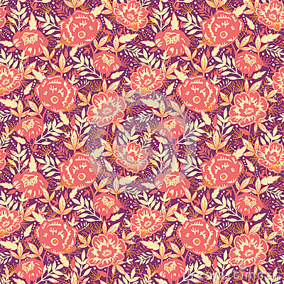 Golden flowers and leaves seamless pattern