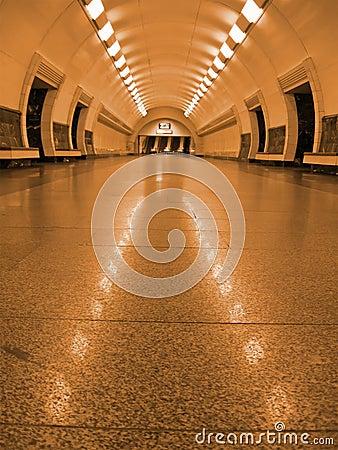 Free Golden Fluorescent Subway Tunnel Lighting, Nobody Stock Image - 11437271
