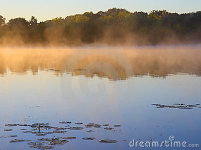 Golden fog and blue water