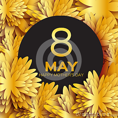 Free Golden Foil Floral Greeting Card - Happy Mother S Day - Gold Sparkles Holiday Background With Paper Cut Frame Flowers. Royalty Free Stock Photography - 68919567