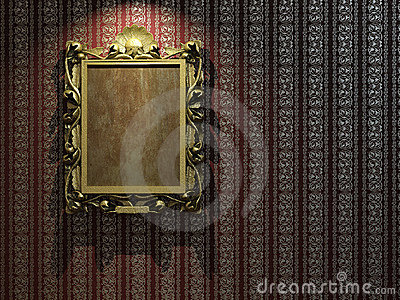 Golden frame on classic wallpaper