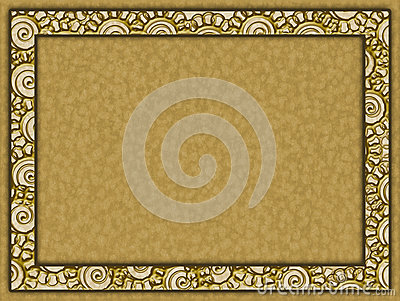 Golden frame with flowers and paper background