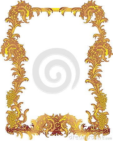 Golden frame with grapes