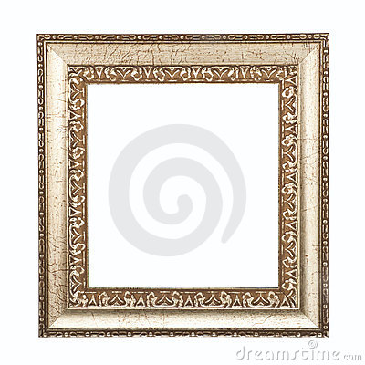 Golden frame isolated on white background.