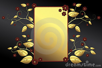 Golden frame, leaves, blossoms on black background